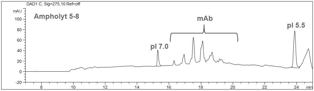 cIEF, peptide markers, CE, ampholyte, calibration
